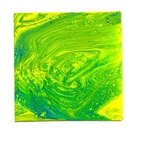 Original painting abstract blue green yellow